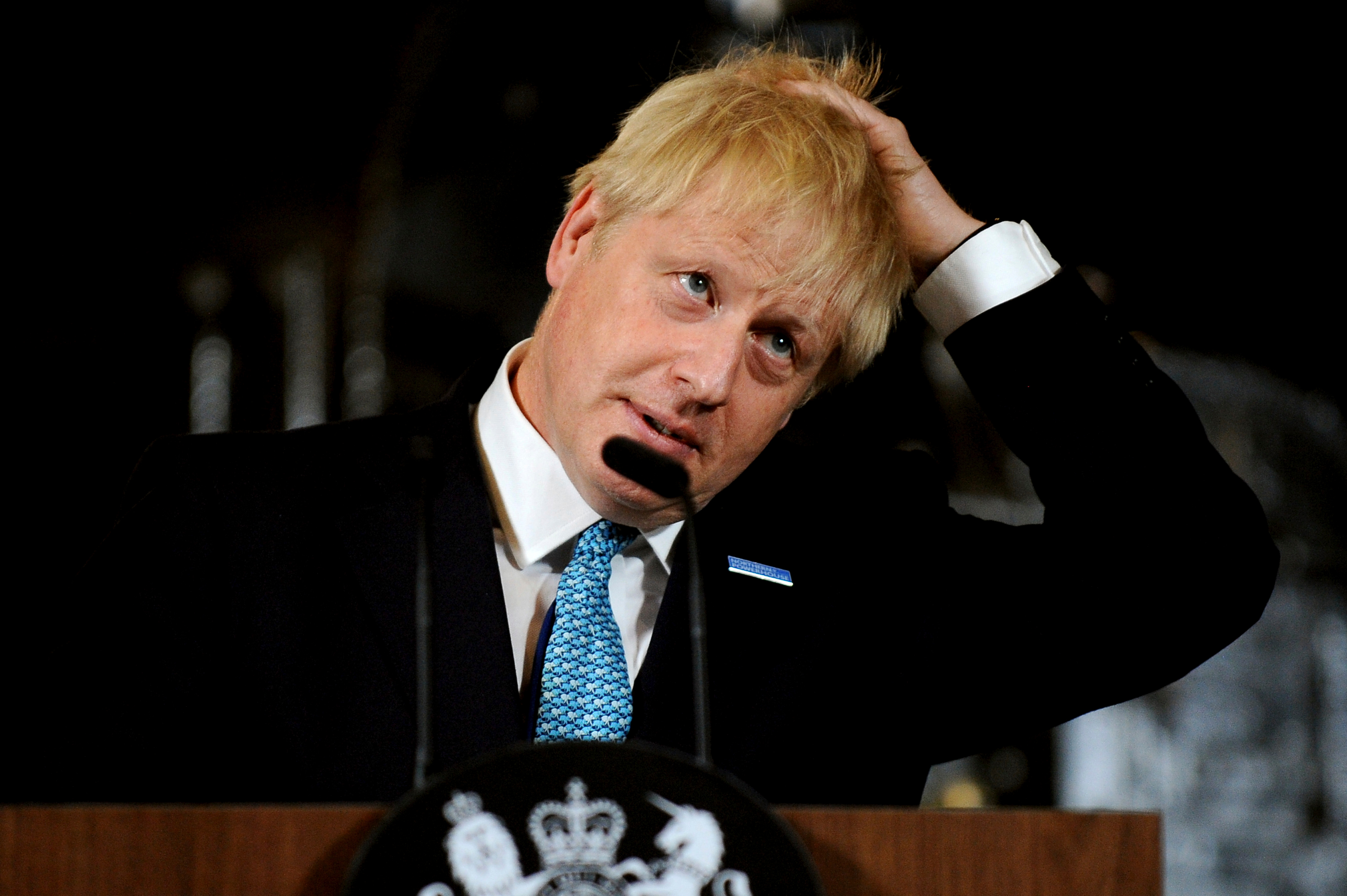 Britain's Prime Minister Boris Johnson during a speech on domestic priorities at the Science and Industry Museum in Manchester, England, . Economists have warned that leaving the European bloc without an agreement in under 100-days would disrupt trade to impact on finances and investmentConservatives, Manchester, United Kingdom - 27 Jul 2019
