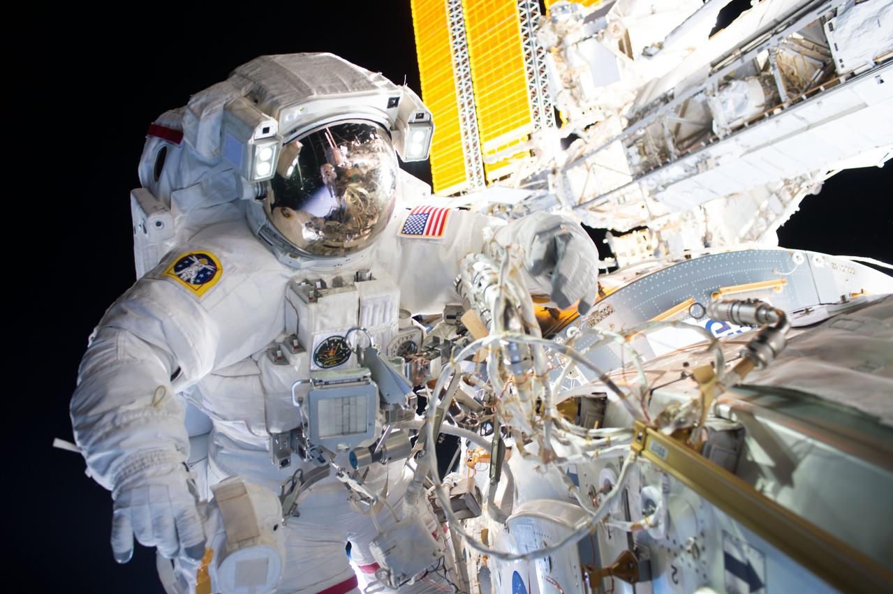 Spacesuits worn today are considerably heavier than the ones worn by the Apollo 11 crew.