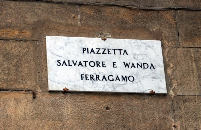 The plaque naming a square after Salvatore and Wanda Ferragamo.