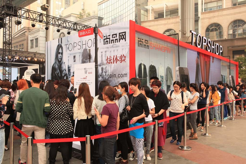 Topshop's pop-up store in China, hosted by Shangpin in 2014.
