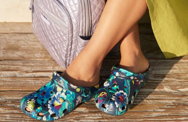 "The Vera Bradley Crocs ""moonlight garden"" footwear design."