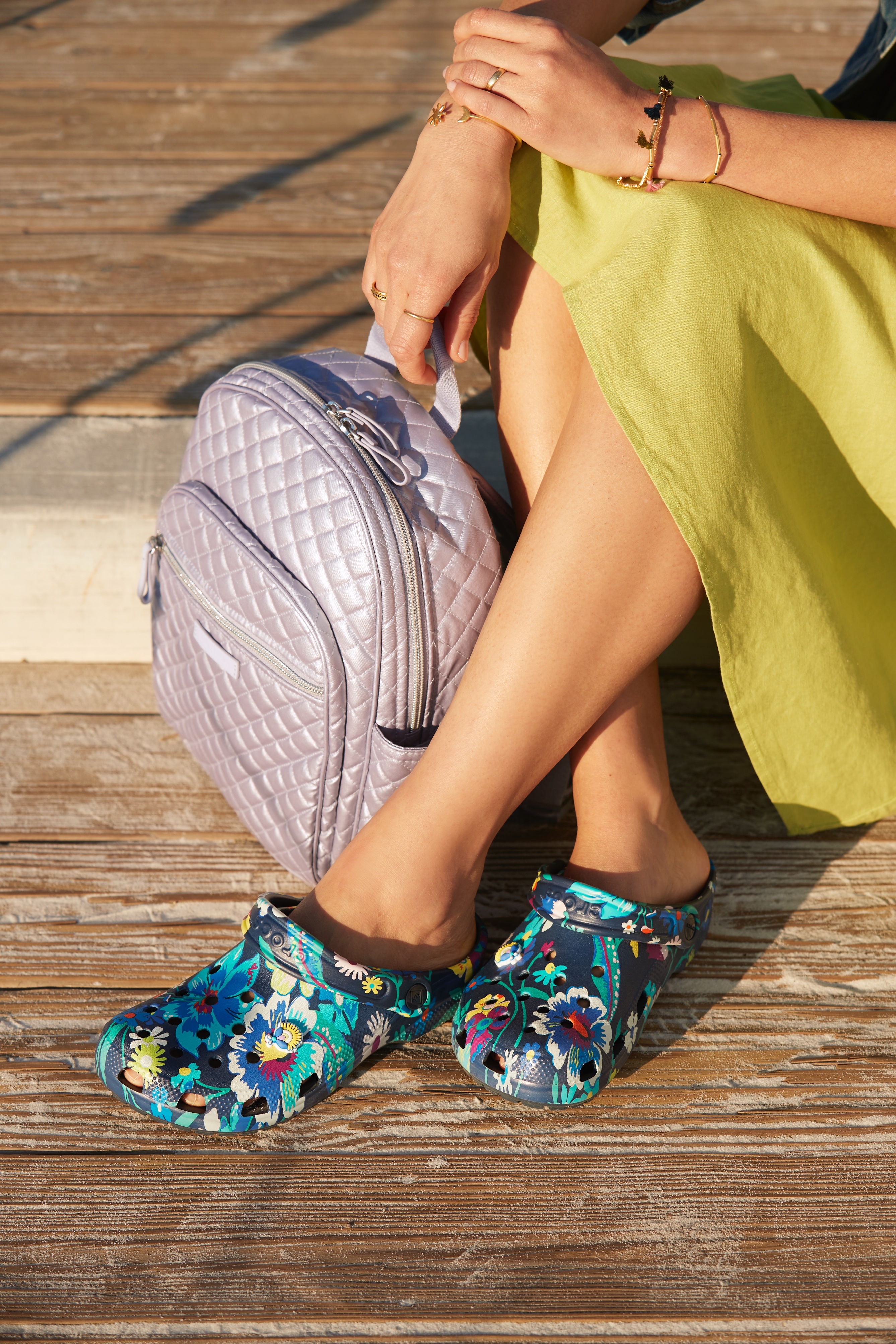 "The Vera Bradley Crocs ""moonlight garden"" footwear design."