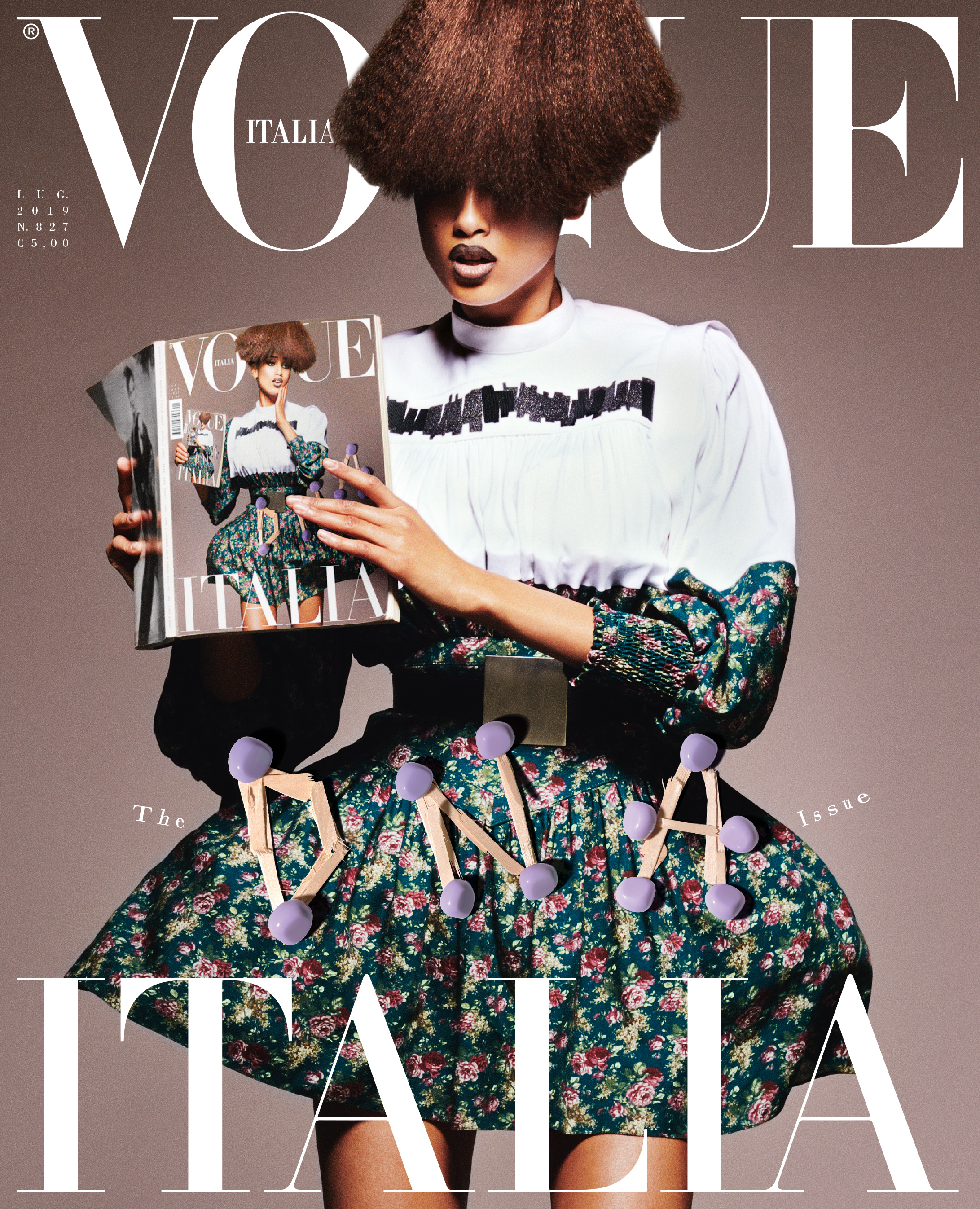 Imaan Hammam fronts the cover of Vogue Italia's July issue.