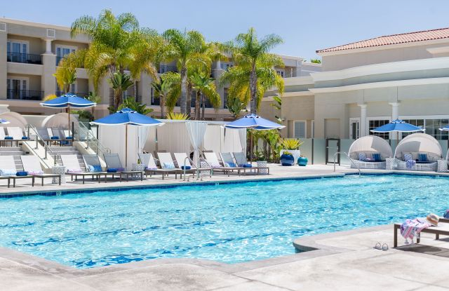 Lilly Pulitzer has outfitted the Balboa Bay Resort's pool cabanas.