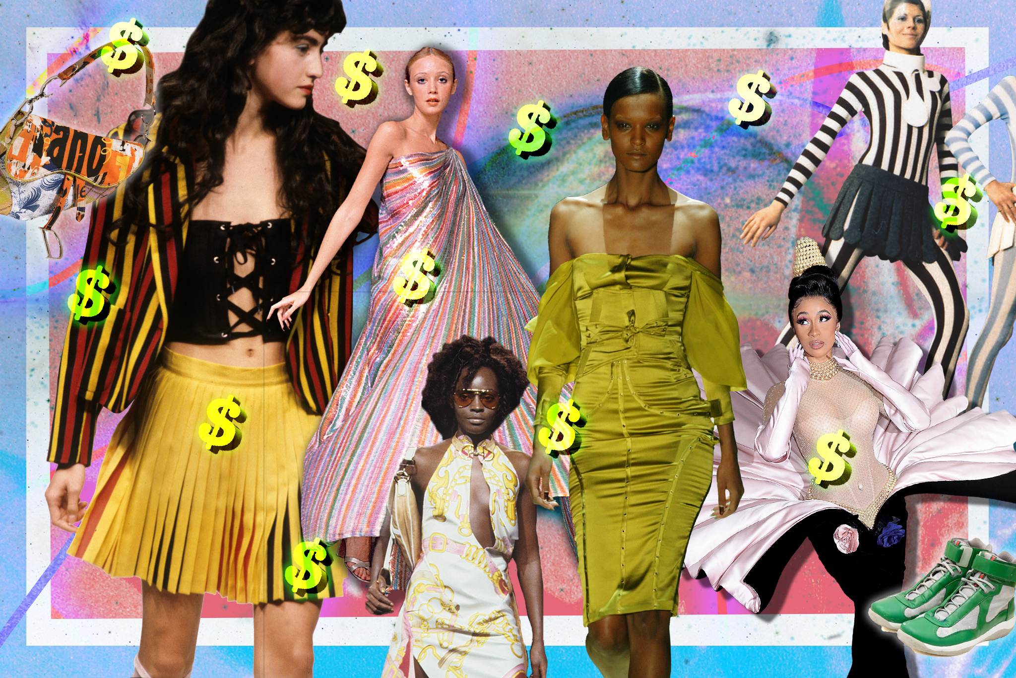 Vintage styles that are popular in today's market, including looks by Vivienne Westwood, Halston, Dior by John Galliano, Gucci by Tom Ford, Thierry Mugler and Prada Sport.