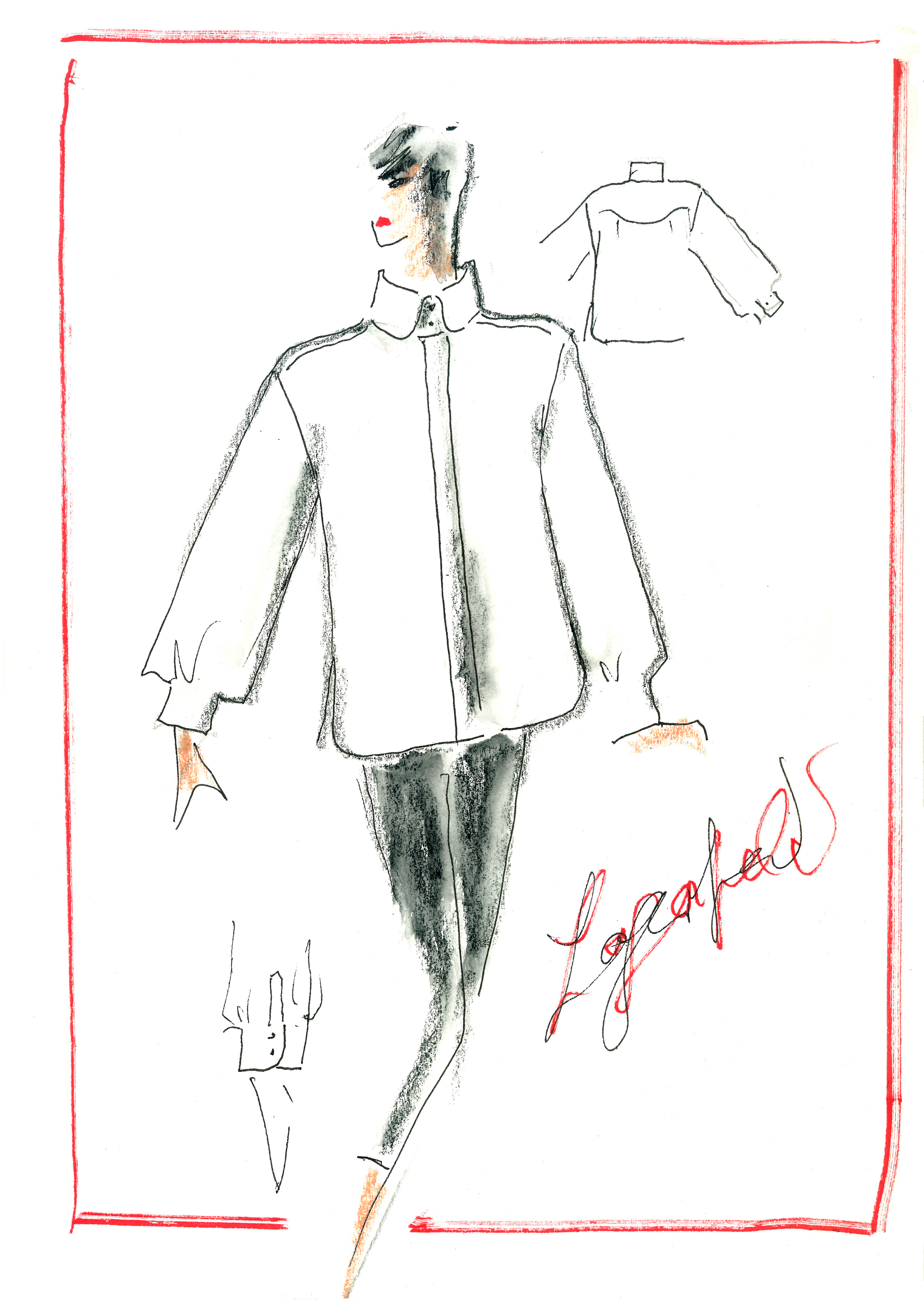 Karl Lagerfeld's original sketch of the white shirt that will be used for the tribute