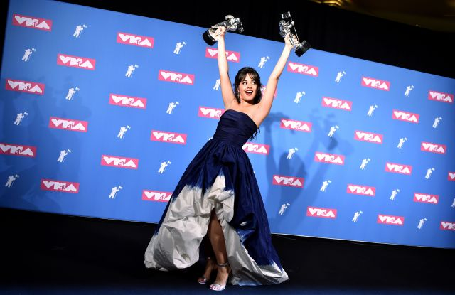 Camila Cabello MTV Video Music Awards, Press Room, New York, USA - 20 Aug 2018WEARING OSCAR DE LA RENTA