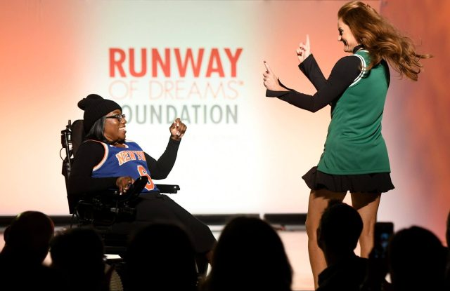 A model on the runway at the Runway of Dreams show in 2018.