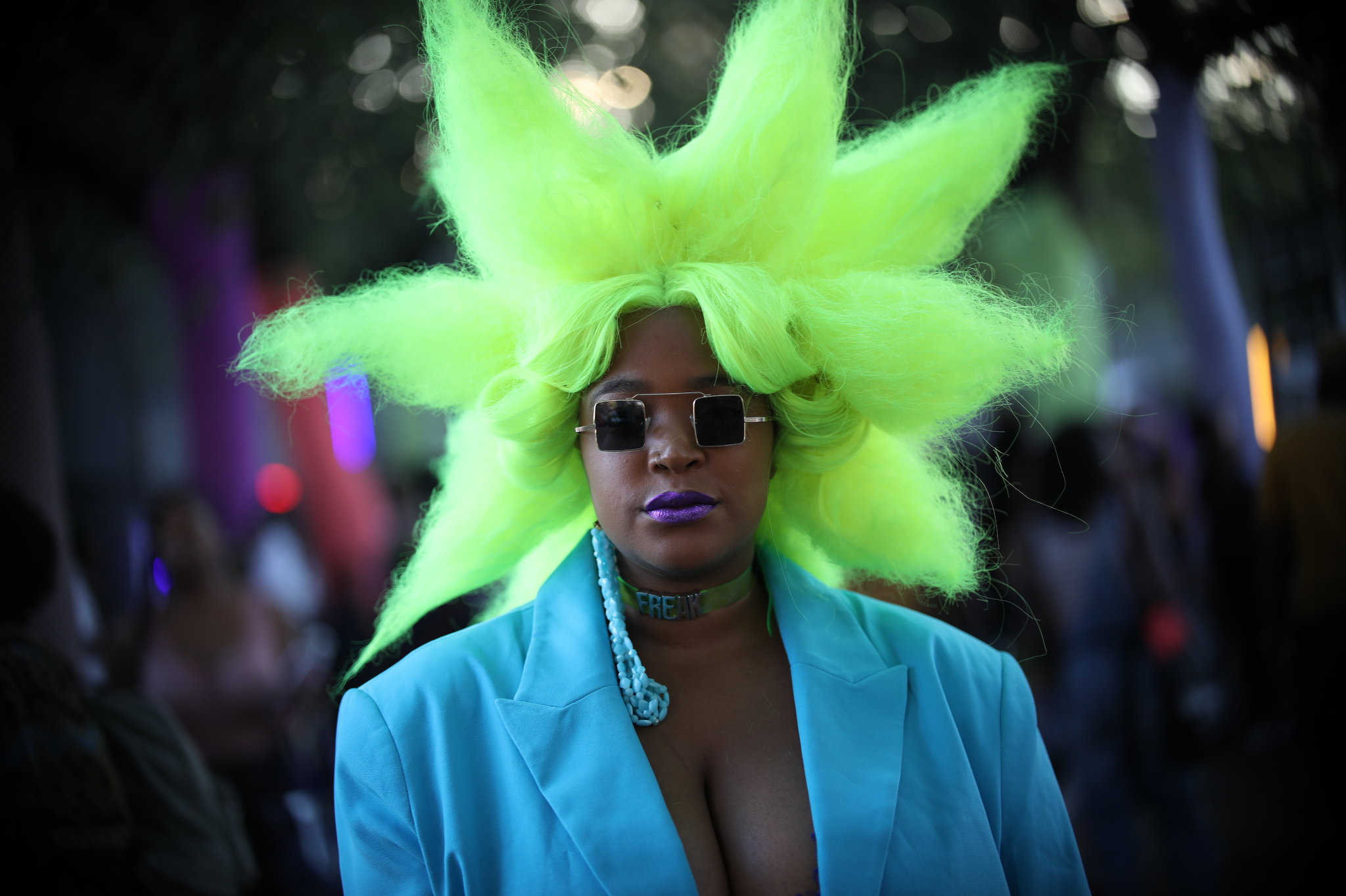 A street style look from Afropunk, 2019.