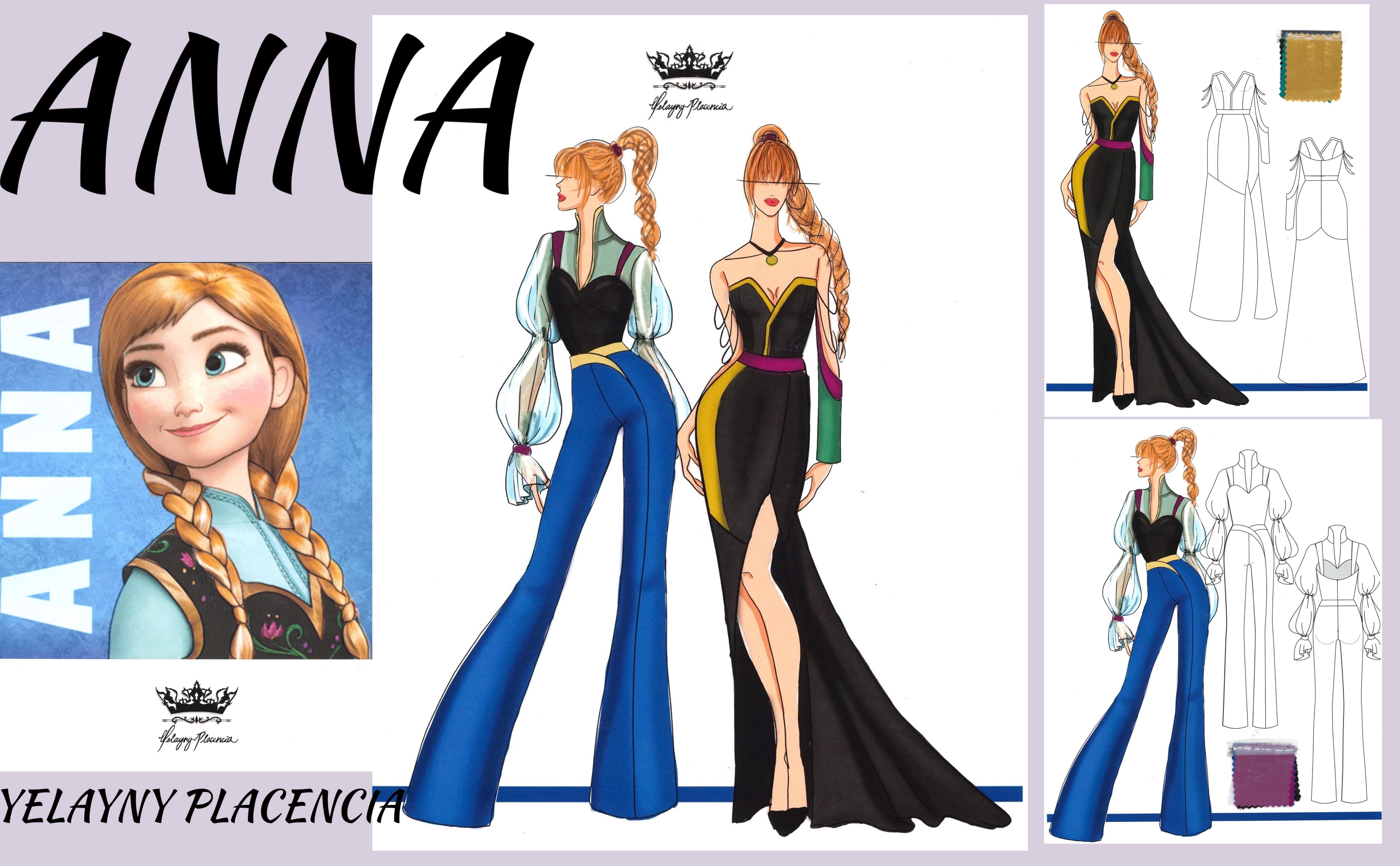 """Yelayny Placencia's new looks for """"Anna"""" of """"Frozen"""" on Broadway."""