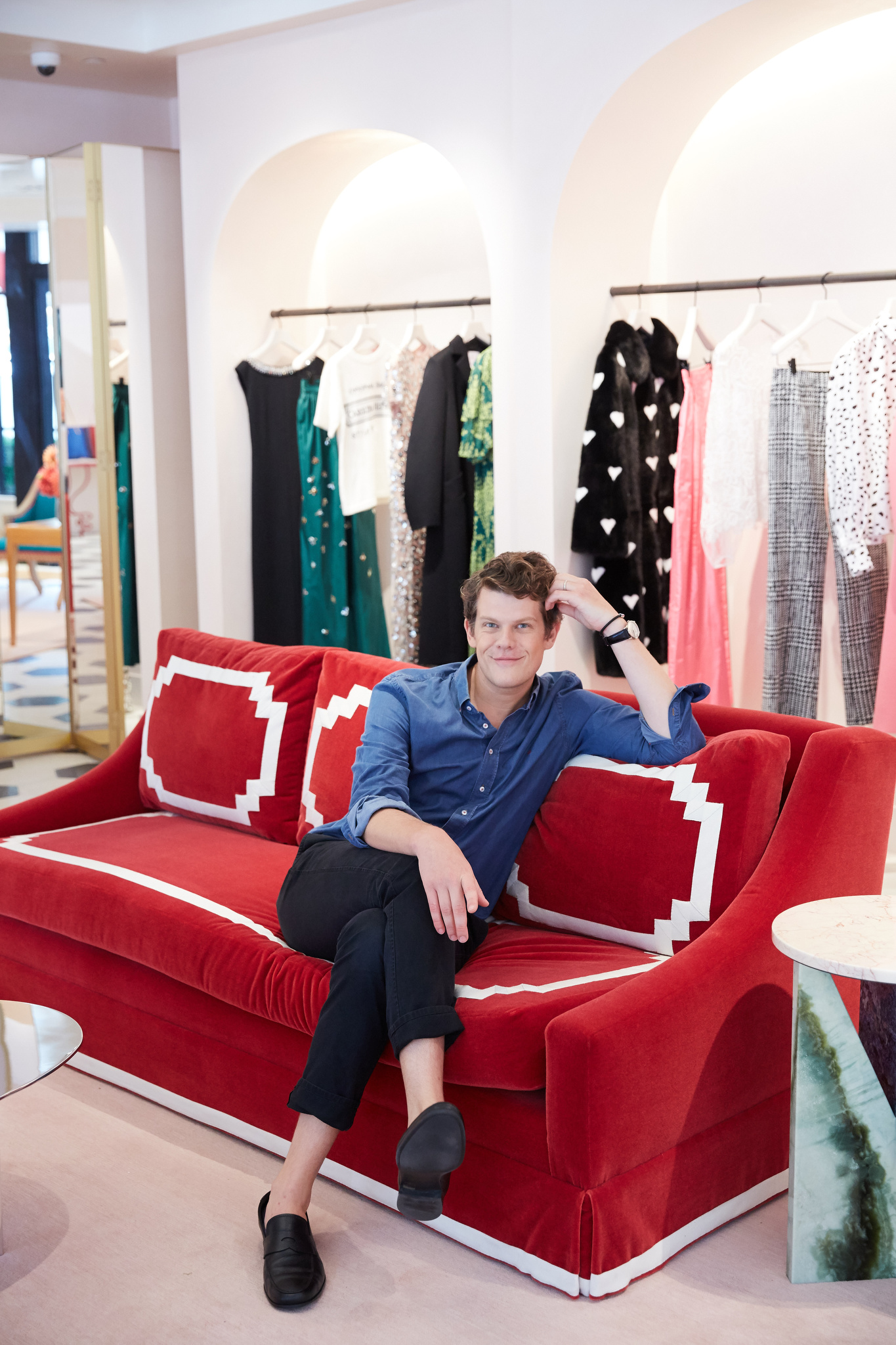Wes Gordon inside the Carolina Herrera store on Madison Ave.