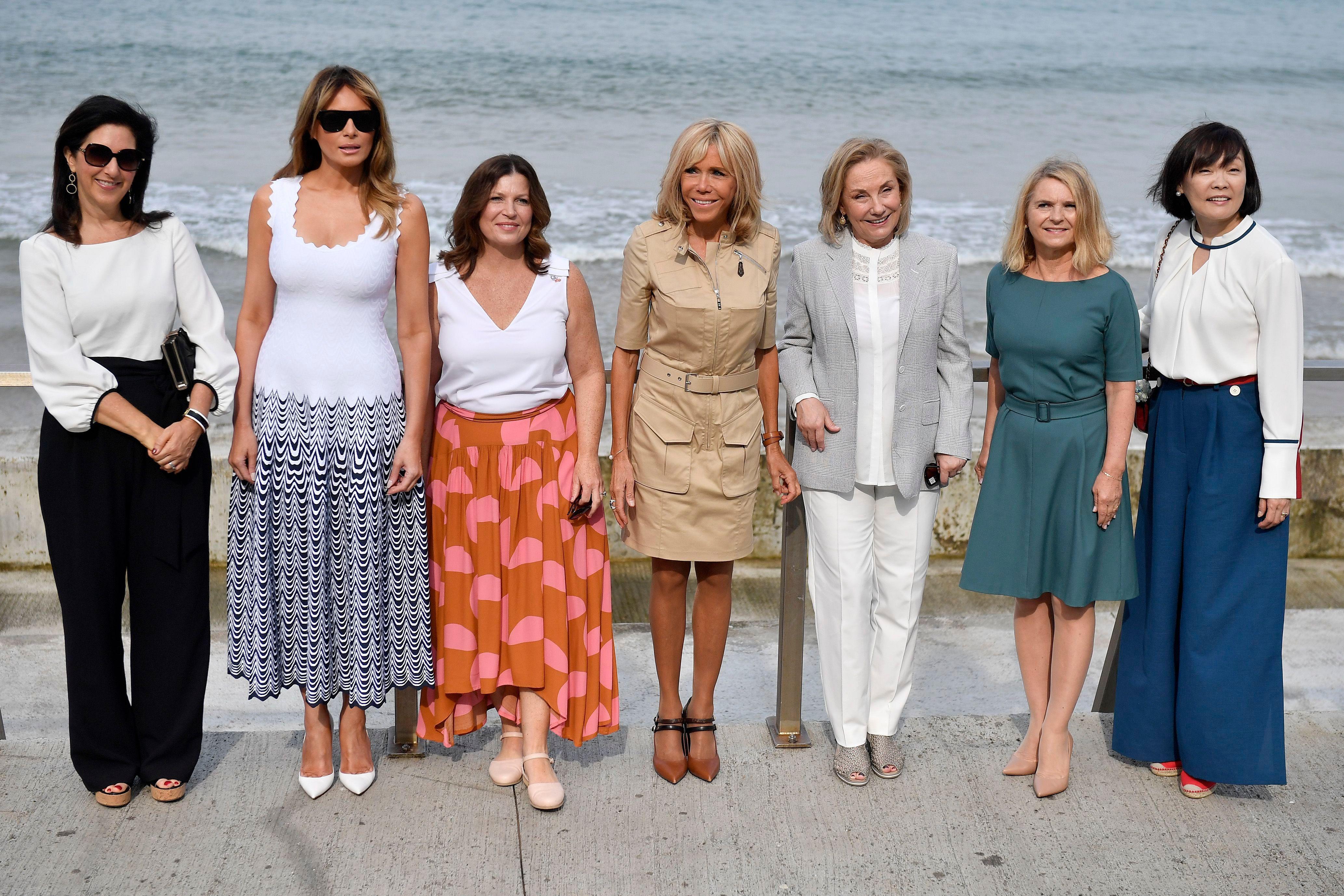 (L-R) Brigitte Macron, Melania Trump, Akie Abe, Jenny Morrison, Malgorzata Tusk, and Adele Malpass at the Cote des Basques beach as part of the G7 summit, in Biarritz, France.