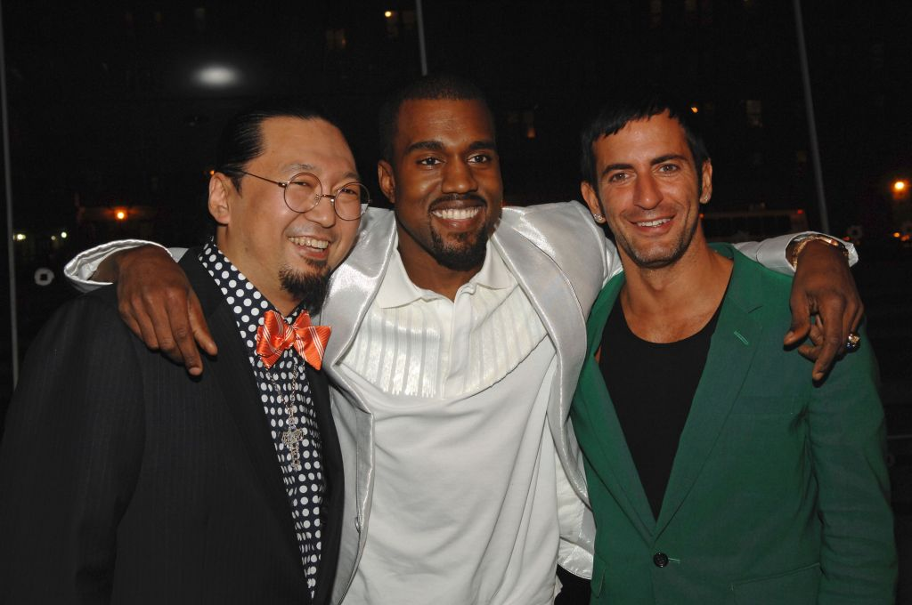 (L-R) Artist Takashi Murakami, rapper Kanye West and fashion designer Marc Jacobs attend the 2008 annual Brooklyn Ball celebrating Murakami and his '© MURAKAMI' exhibition at the Brooklyn Museum in Brooklyn New York. The evening was sponsored by the Brooklyn Museum and Louis Vuitton.The 2008 Annual Brooklyn Ball, New York