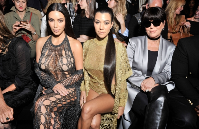 Kim Kardashian, Kourtney Kardashian and Kris Jenner in the front row