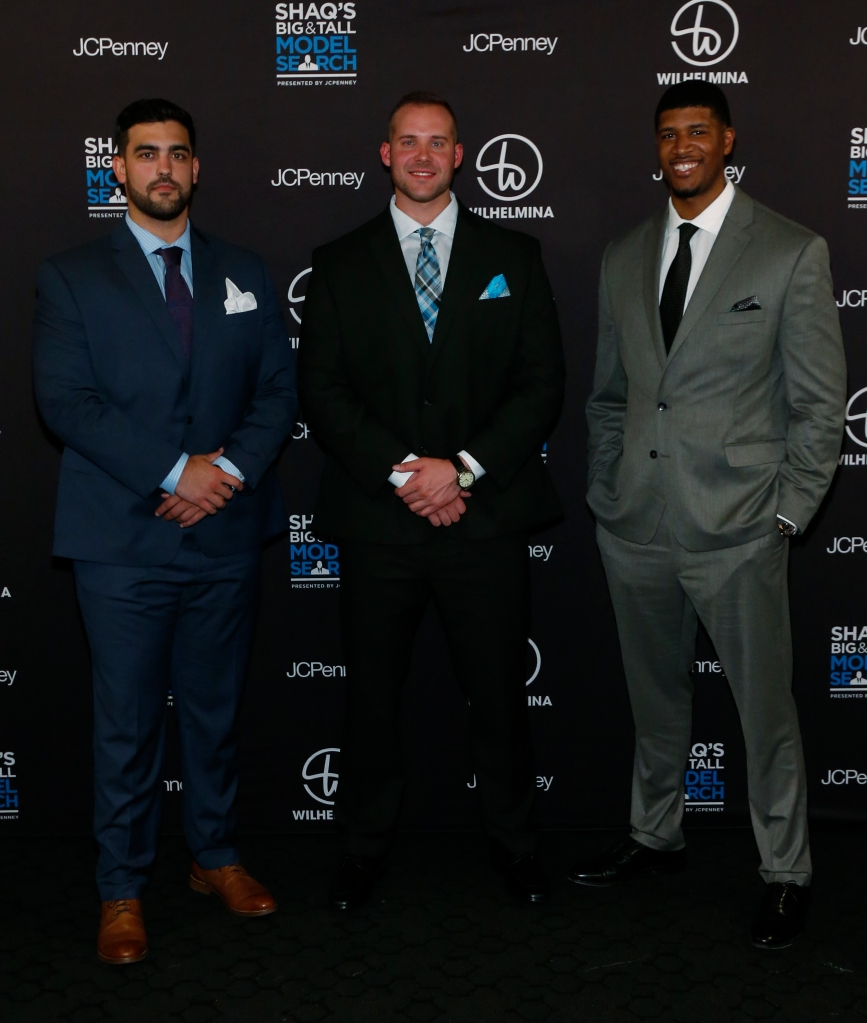J.C. Penney Model Search winners Ricardo Vichot, Jordan Alexander Cochran and Chukwukere Ekeh pose during the reveal event for Shaquille O'Neal's Big & Tall Model Search presented by JCPenney and Wilhelmina at STK Downtown Monday Aug. 19, 2019 in New York. (Jason DeCrow/AP Images for JCPenney)