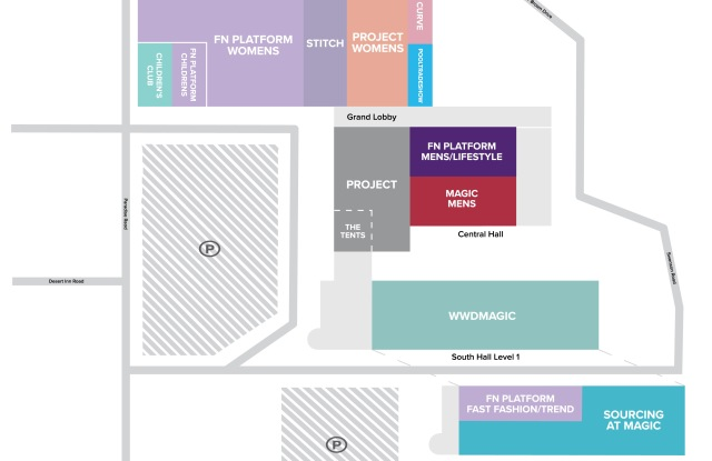 A block map of the MAGIC shows at the Las Vegas Convention Center.