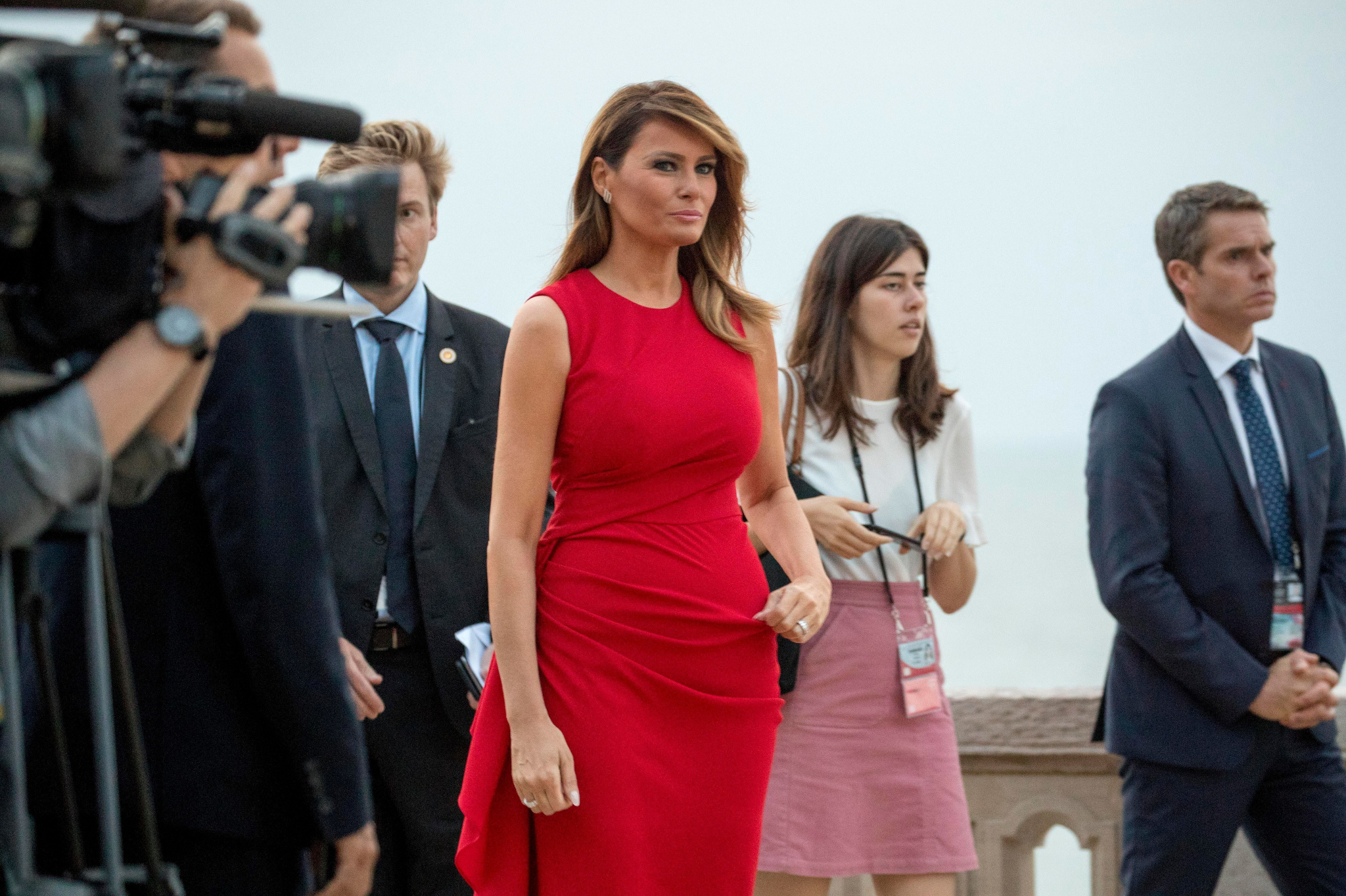 First lady Melania Trump arrives for the Group of Seven leaders and guests G-7 family photo at the G-7 summit at the Hotel du Palais in Biarritz, FranceG7 Summit Trump, Biarritz, France - 25 Aug 2019
