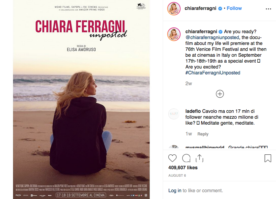 The official poster of Ferragni's documentary.