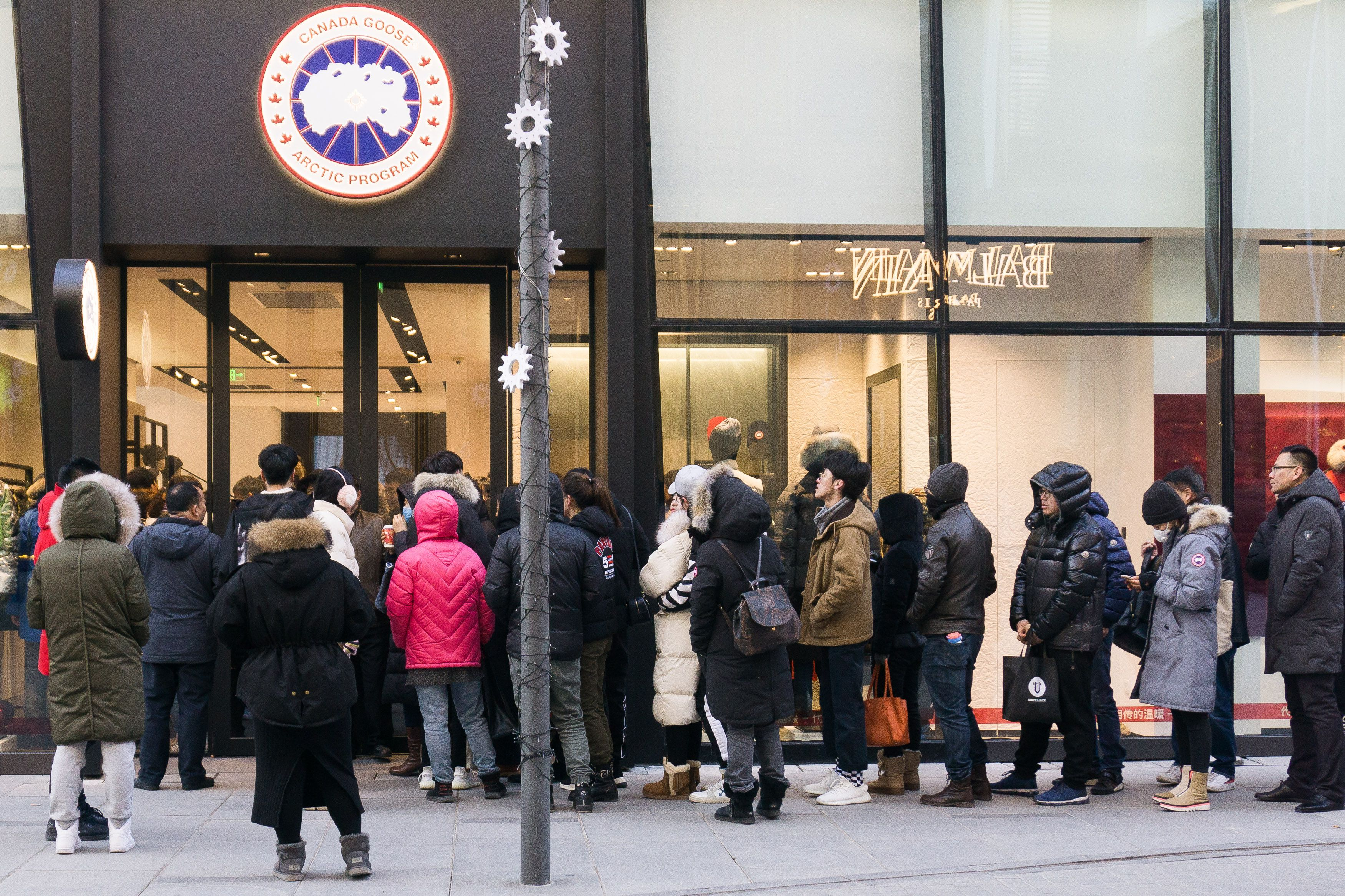 People line up at Canada Goose's first Flagship Store in Beijing.Canada Goose Flagship Store Opening, Beijing, China - 30 Dec 2018