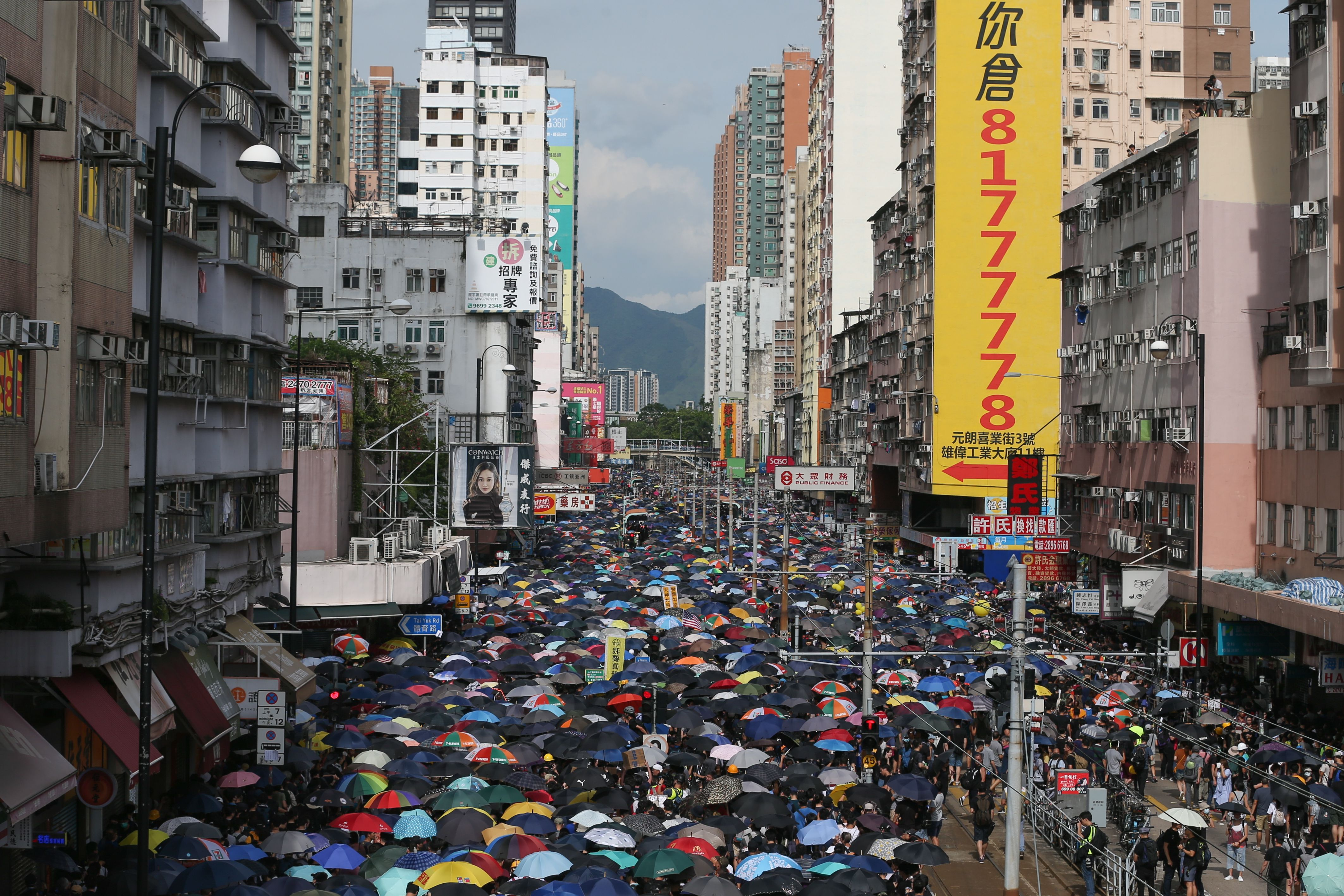 Anti-extradition bill protesters attend a mass rally in Yuen Long, New Territories, Hong Kong