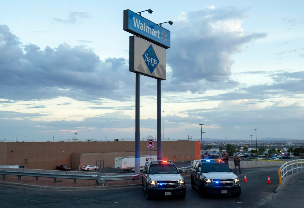 Texas state police cars block the access to the Walmart store in the aftermath of a mass shooting in El Paso, Texas, . Multiple people were killed and one person was in custody after a shooter went on a rampage at a shopping mall, police in the Texas border town of El Paso saidTexas Mall Shooting, El Paso, USA - 03 Aug 2019