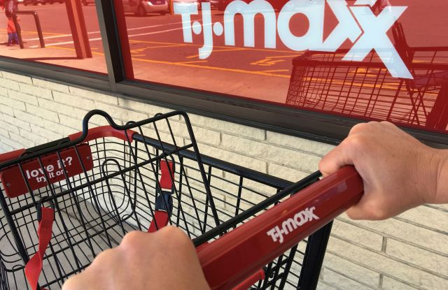 A shopper pushes a cart to a T.J. Maxx store entrance, in North Andover, Mass. The TJX Cos. Inc., parent of T.J. Maxx, Marshalls and other stores, reports financial results Tuesday, Aug. 15, 2017Earns TJX Cos, North Andover, USA - 16 May 2017