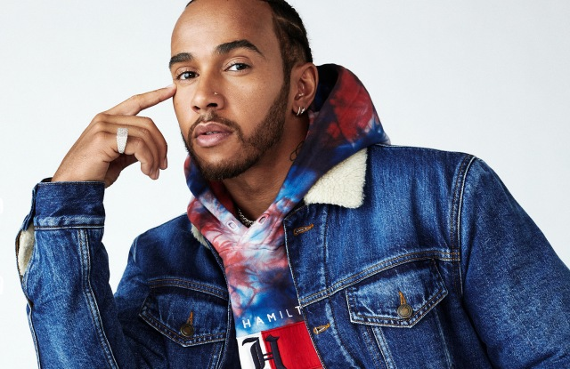 Lewis Hamilton in a look from his Tommy Hilfiger line.