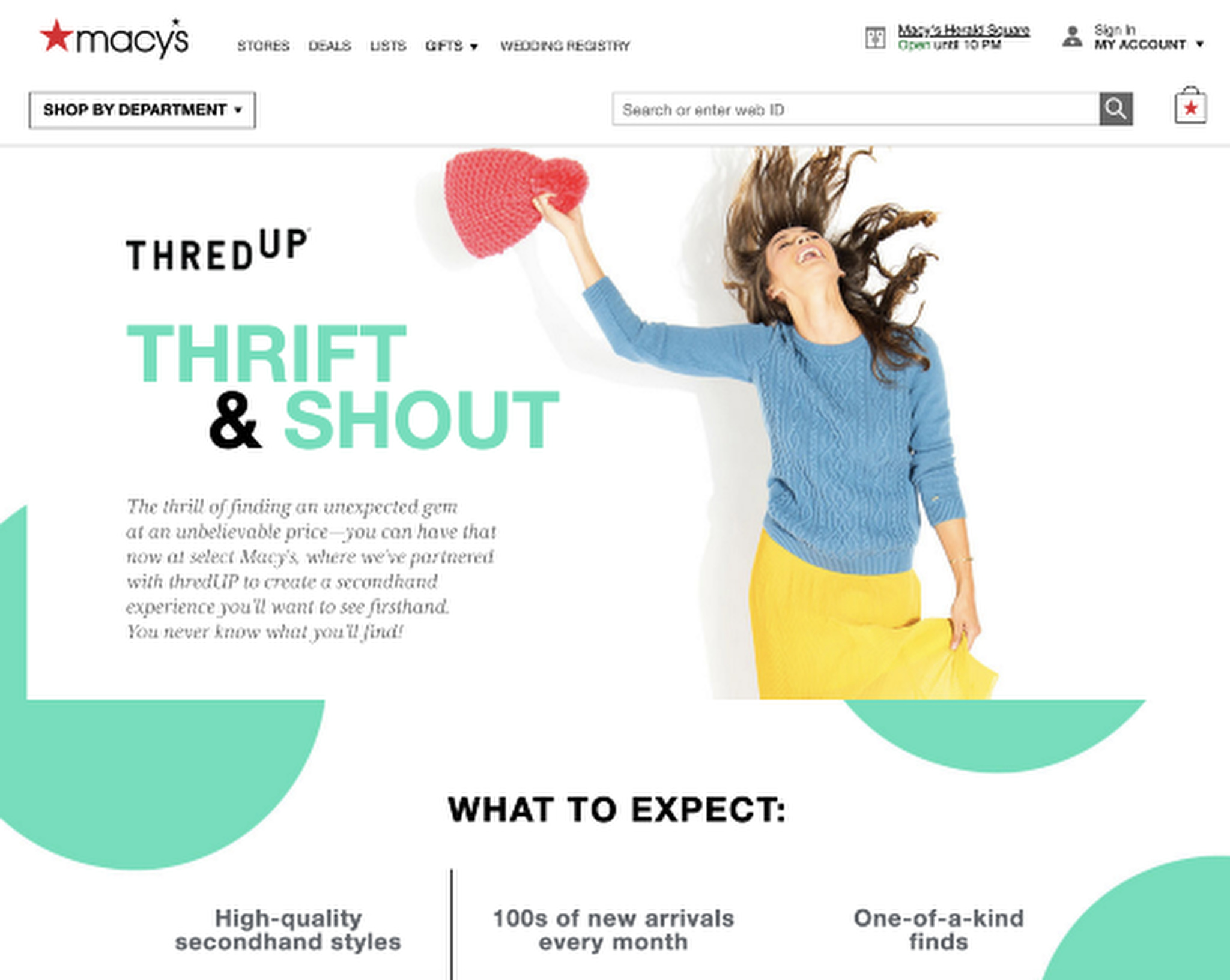 An example of ThredUp on Macy's e-commerce site.