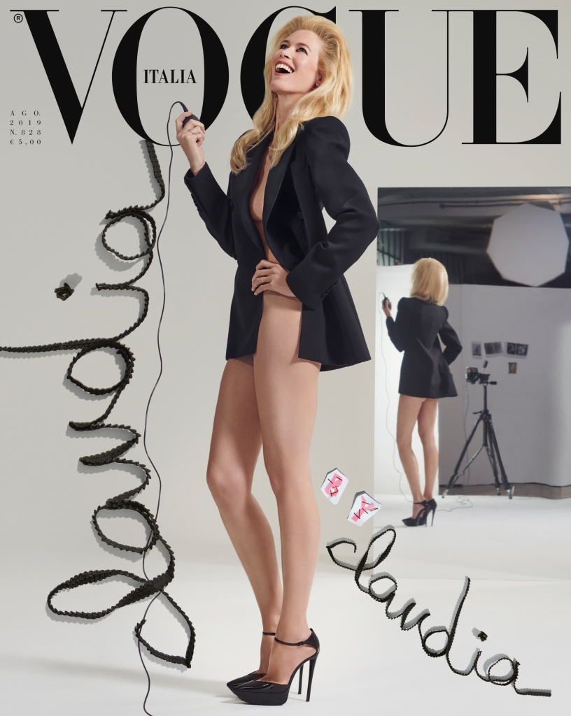 Claudia Schiffer on the cover of Vogue Italia.