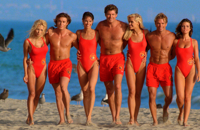 "David Hasselhoff with ""Baywatch"" lifeguards."