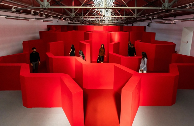 "The ""Post Box Maze"" installation."