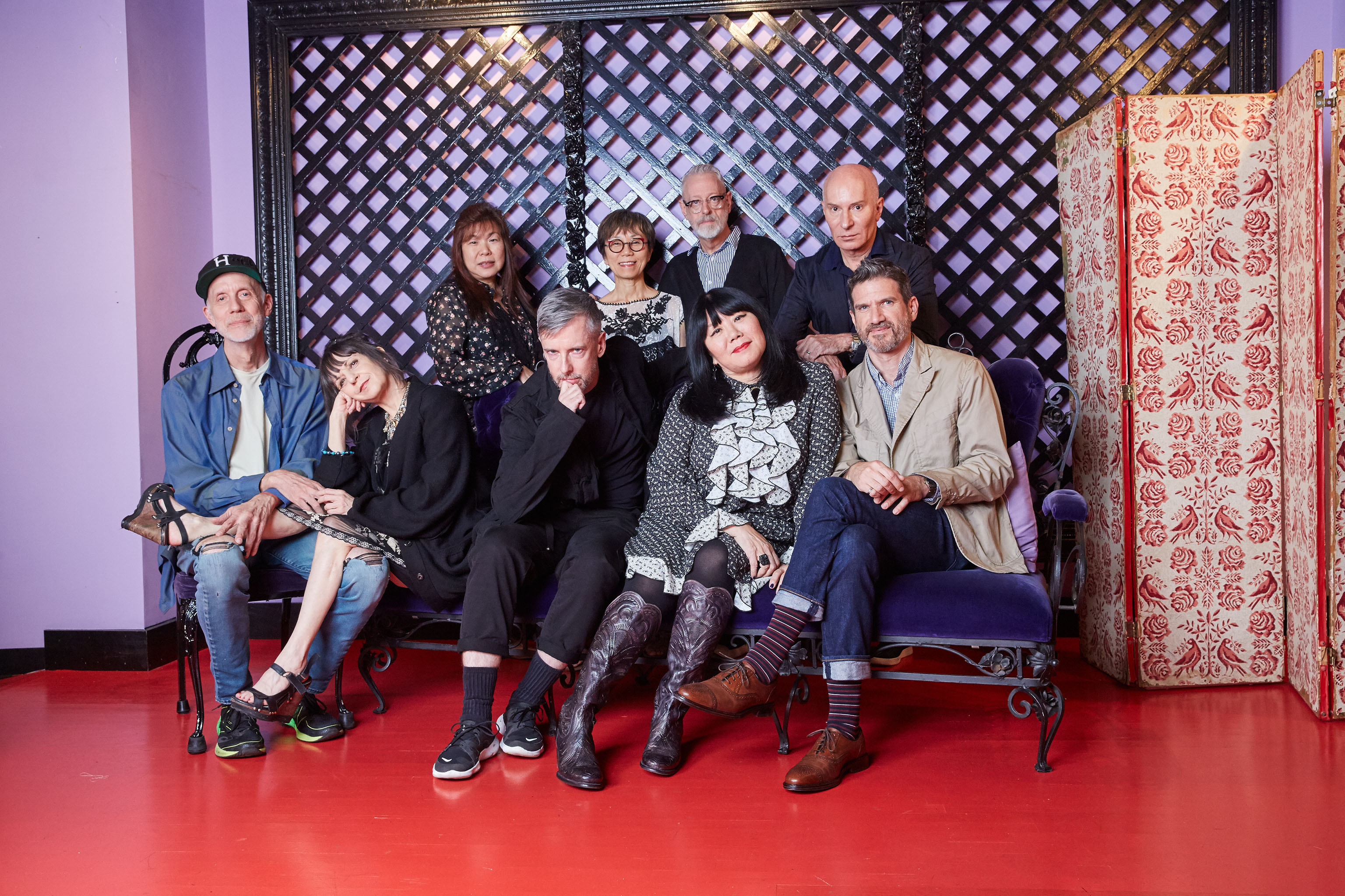 Anna Sui surrounded by members of her creative and in-house family. Clockwise from left: Eric Erickson, Karen Erickson Bill Mullen, Heidi  Foon,  Akiko Mamitsuka, Garren, James coviello and Thomas Miller.