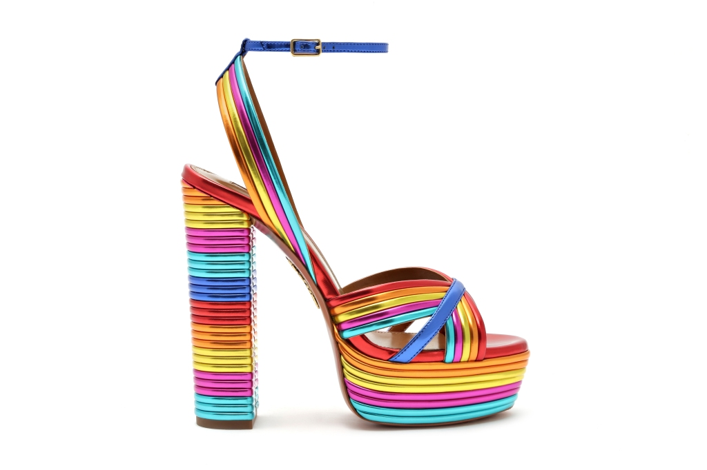 Rainbow sandals from the Aquazzura spring 2020 collection.