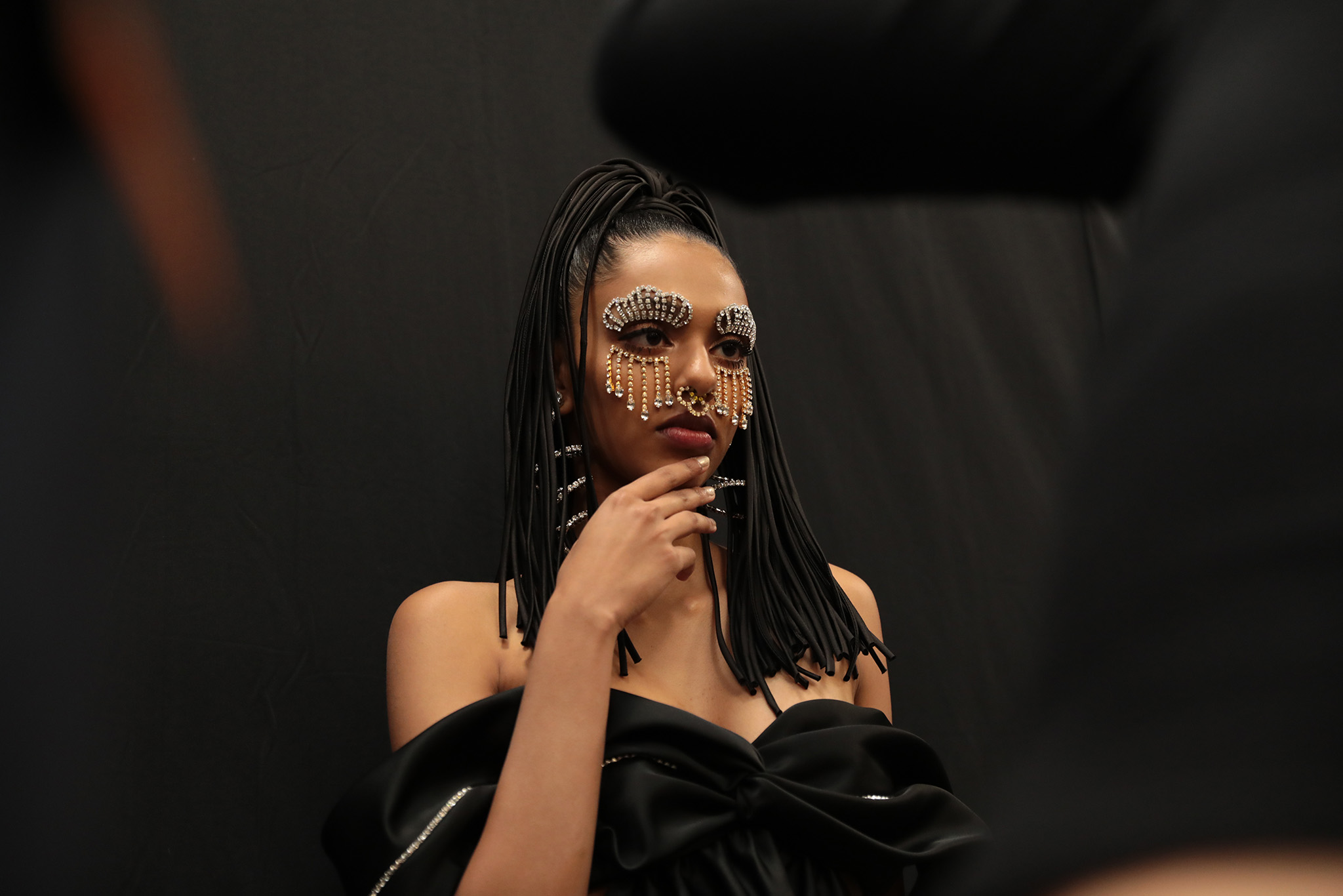 Backstage at Area RTW Spring 2020