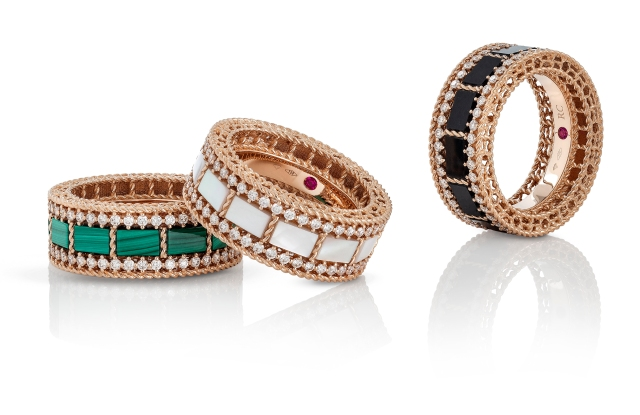 Rings from Roberto Coin's Art Deco collection.