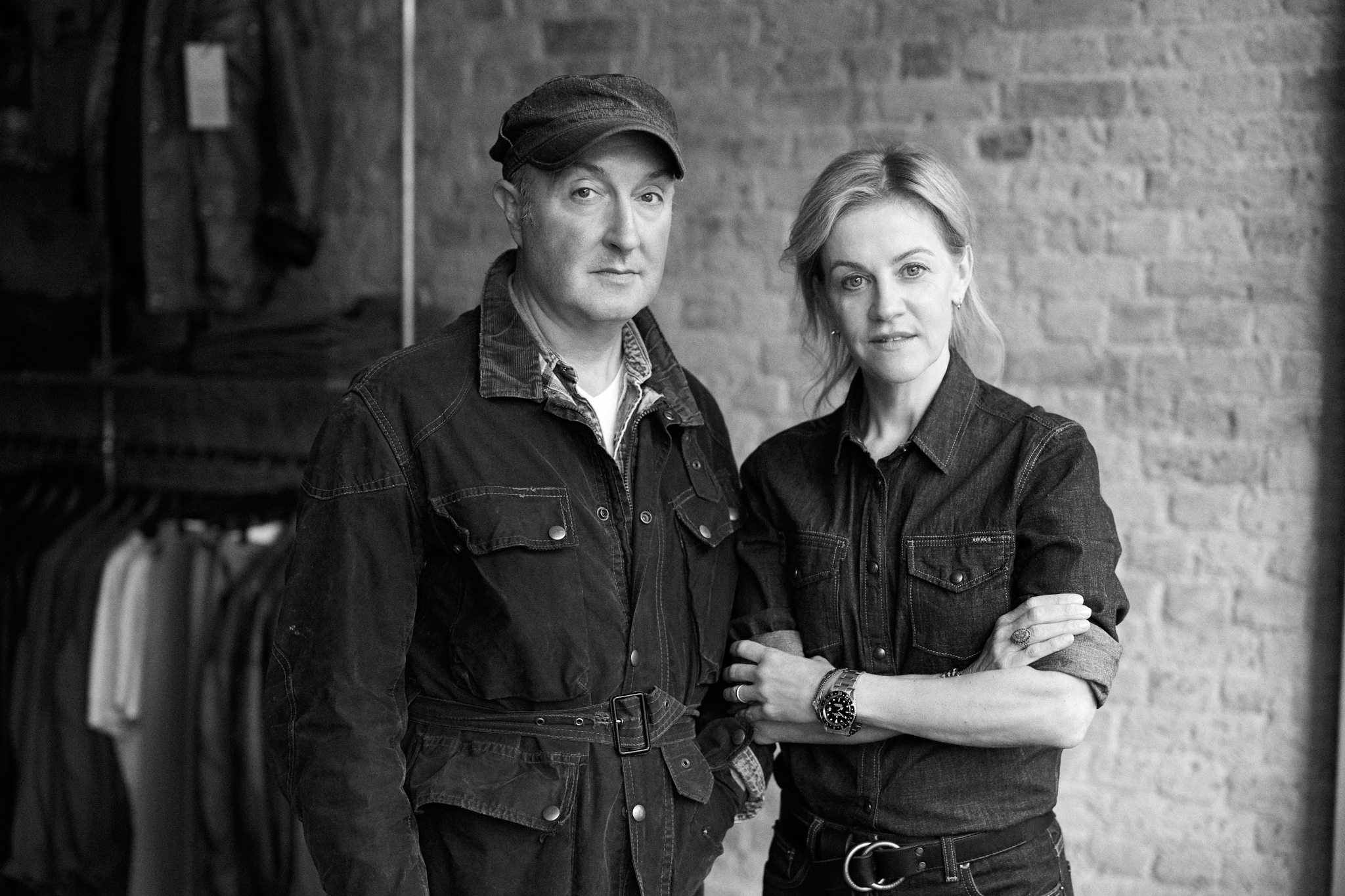 Belstaff chief executive officer Helen Wright and creative director Sean Lehnhardt-Moore.