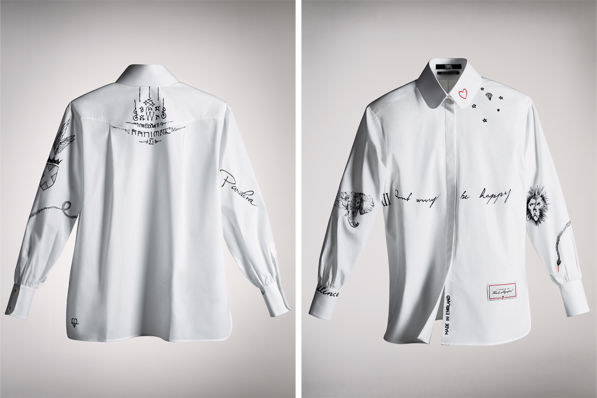 The shirt designed by Cara Delevingne, featuring her tattoos