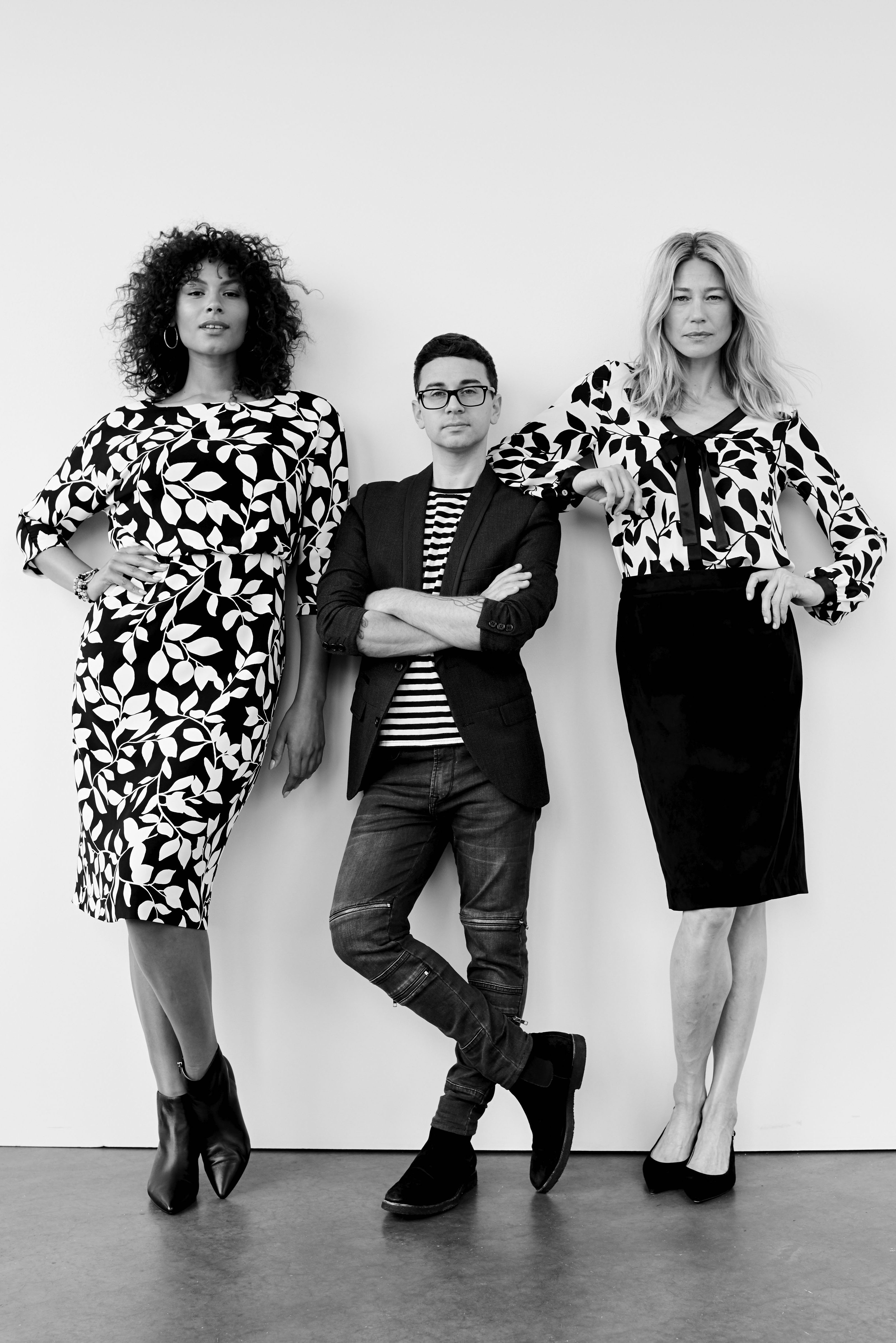 Christian Siriano with models in looks from his J. Jill line.