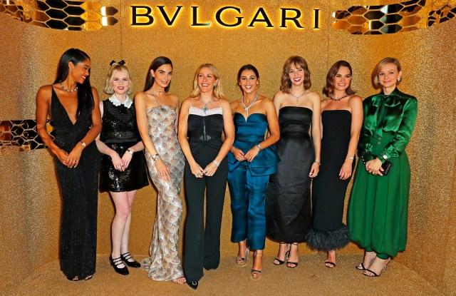 Laura Harrier, Lucy Boynton, Lily Aldridge, Ellie Goulding, Naomi Scott, Maya Hawke, Lily James and Carey Mulligan attend the Bvlgari Serpenti Seduttori launch at the Roundhouse.