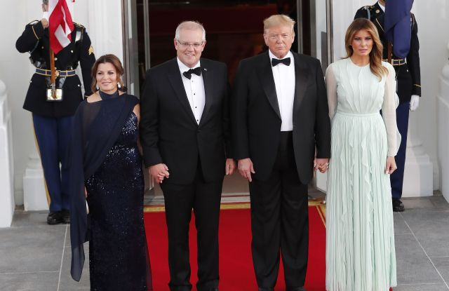 US President Donald J. Trump (2R) and First Lady Melania Trump (R) welcome Prime Minister of Australia Scott Morrison (2L) and his wife, Jenny Morrison (L), at the North Portico of the White House for a state dinner in Washington, DC, USA, 20 September 2019. The occasion marks the second state visit of Donald Trump's presidency.President Trump welcomes Australian Prime Minister Scott Morrison to White House for a state dinner, Washington, USA - 20 Sep 2019