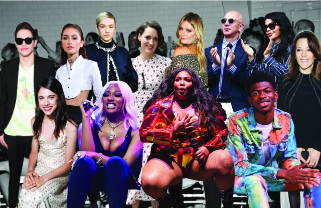 From left, back row: Pete Davidson, Zendaya, Hunter Schafer, Phoebe Waller-Bridge, Mischa Barton and Jeff Bezos and Lauren Sanchez. From left, front row: Margaret Qualley, Megan Thee Stallion, Lizzo, Lil Nas X and Marianne Williamson.