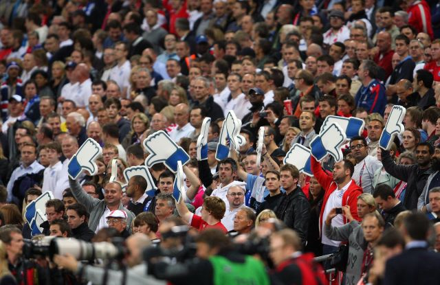 EDITORIAL USE ONLYMandatory Credit: Photo by Marc Atkins/Shutterstock (8472083ag)Fans Hold Up Giant Facebook Style Thumbs Turned Down As Certain Sections of the Crowd Boo the National Anthems United Kingdom LondonEngland V Wales - 06 Sep 2011