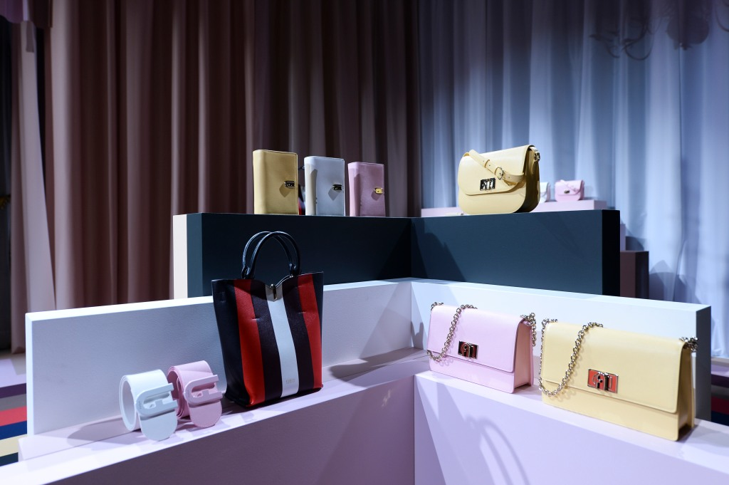 The set up at the Furla presention for the spring 2020 collection.