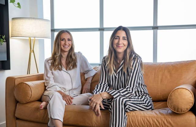 Ariel Kaye and Andrea Lieberman in their collaborations' silk pajamas.