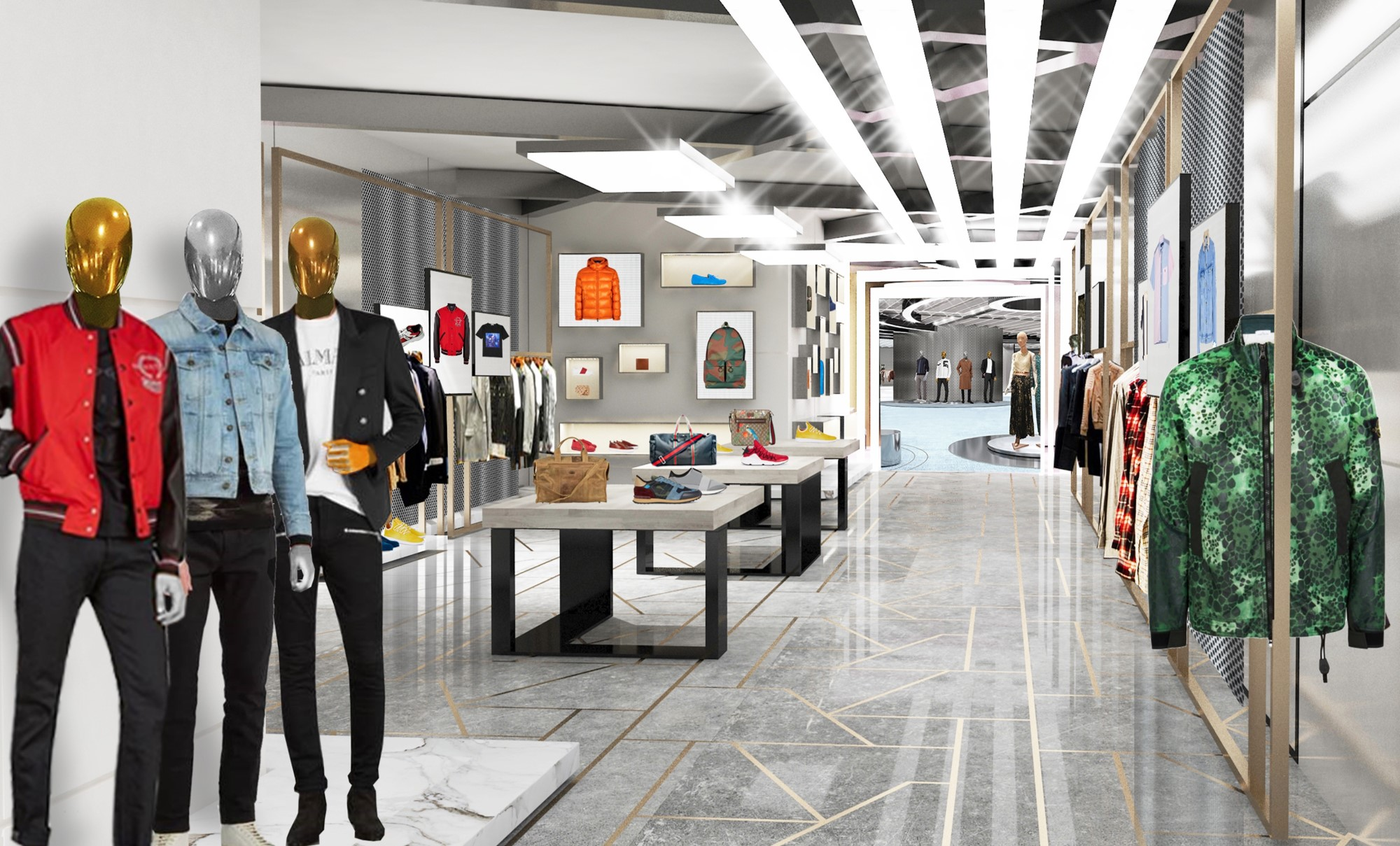 A rendering of the new men's section.