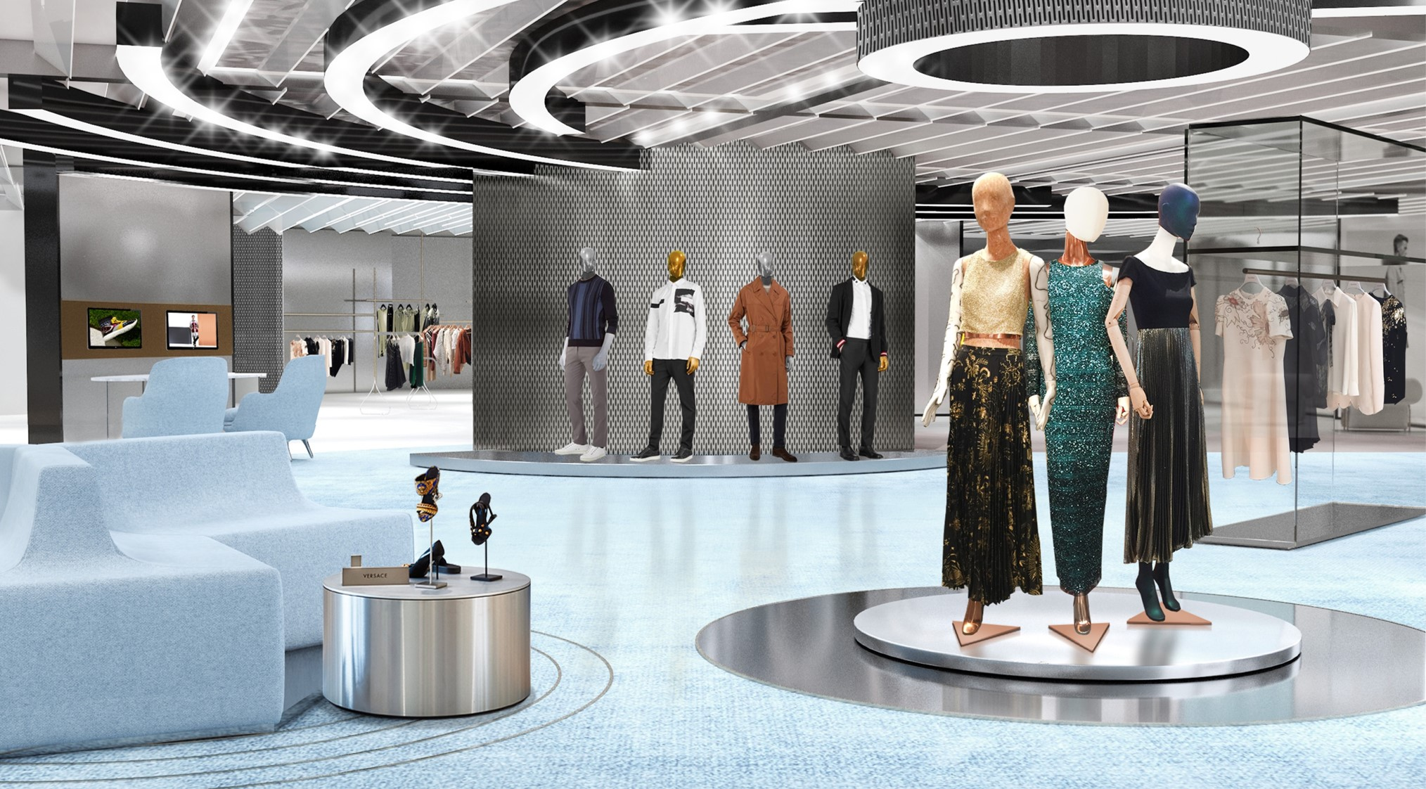 A rendering of the new store which has a lounge that is open to encourage all shoppers whether VIP or first timers to utilize their stylist services.