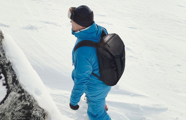 Rob Swan wearing a GroundTruth backpack