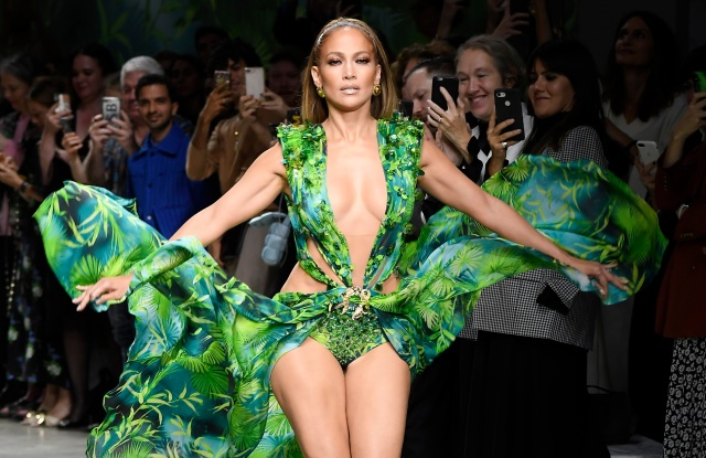Jennifer Lopez on the catwalk.