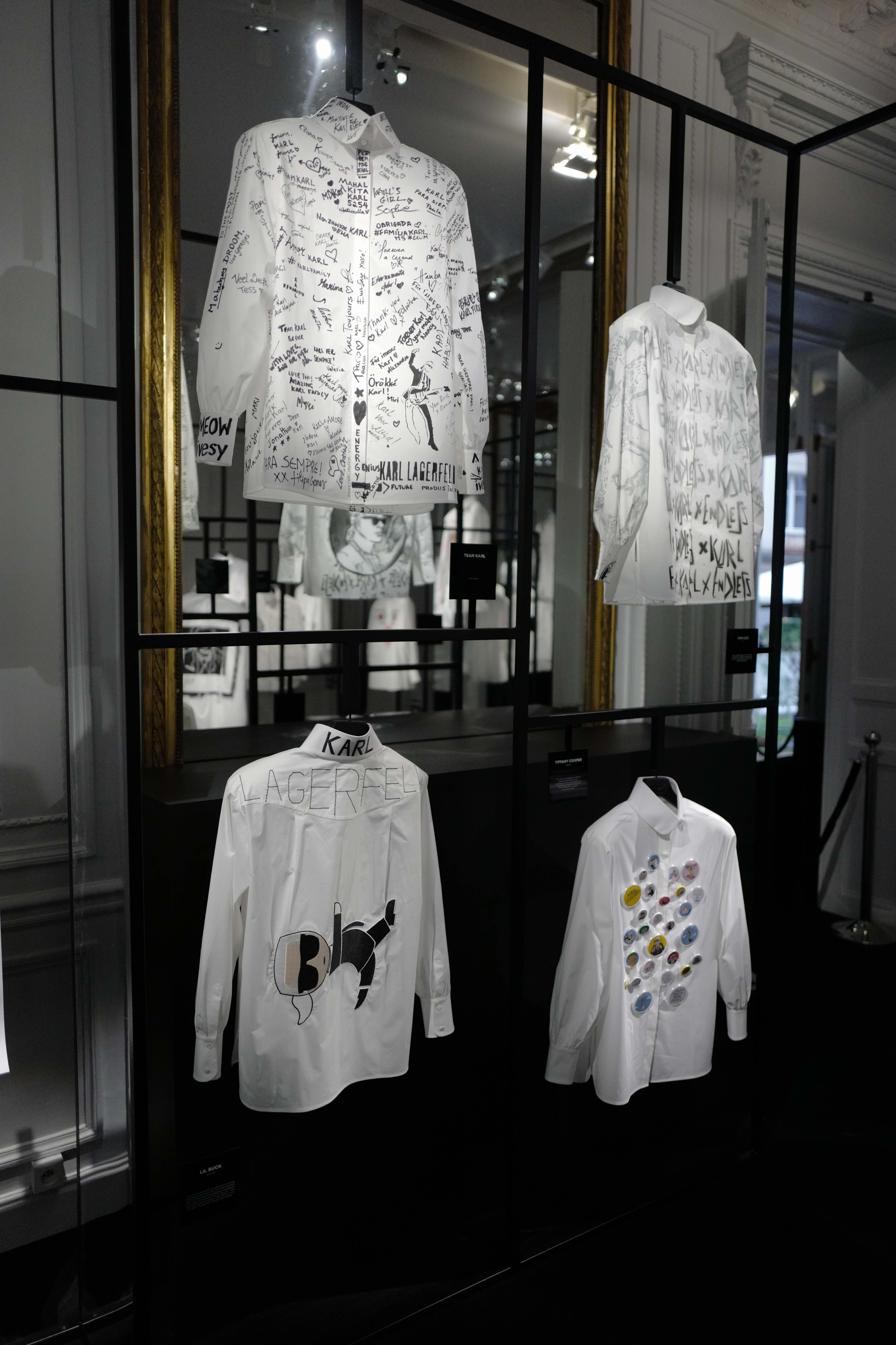 A view of the shirts installation at Karl Lagerfeld's Paris headquarters