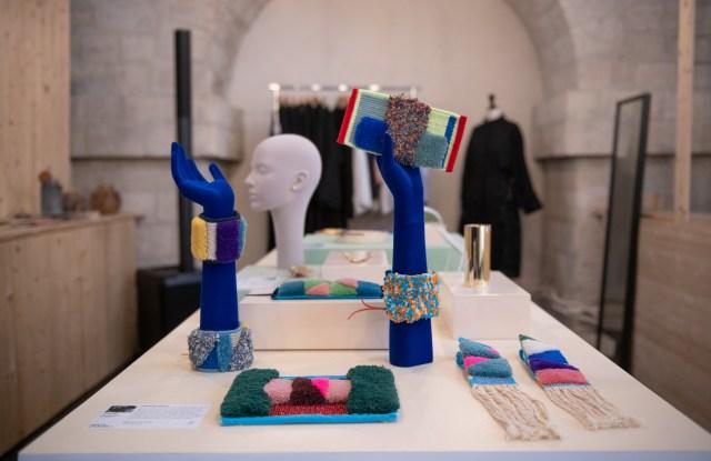 Textile creations by Ali Mousavi exhibited at La Fabrique Nomade.